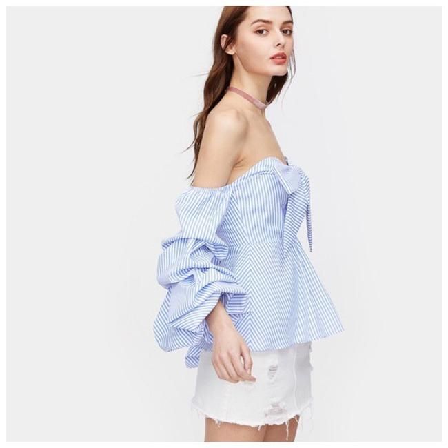 Other Striped Bow Ruffle Top Blue Image 2