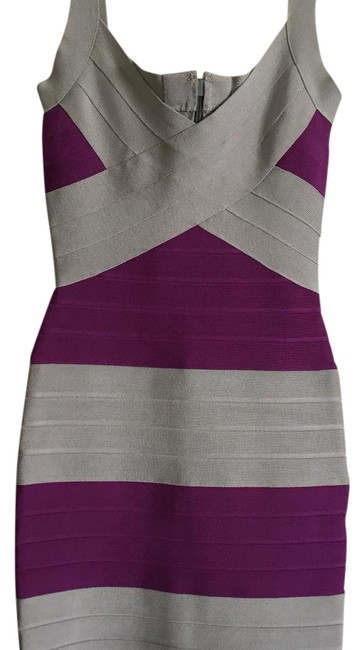Item - Silver and Purple Bandage Short Cocktail Dress Size 0 (XS)