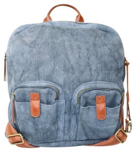 Lucky Brand Denim Leather Tan Backpack