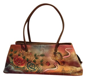 Anuschka Satchel in Brown leather with blues, rose, gold, etc.