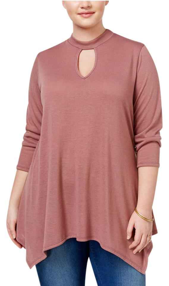 7097bda19038e Macy s Mauve New Ing Womens 2x Keyhole Mock-neck Tunic Shirt Blouse Size 16  (XL