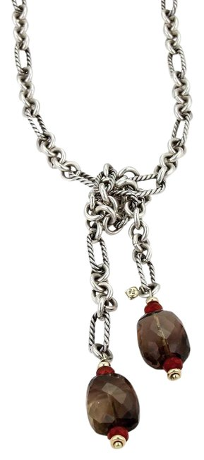 Item - Silver Red & Brown Smokey Quartz Carnelian 18k Gold Sterling Figaro Cable Chain Necklace