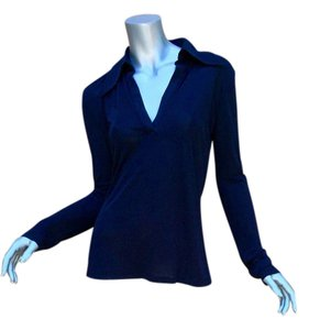 Gucci Tunic Blouse Top Navy Blue