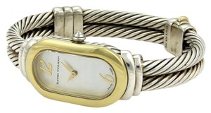 David Yurman 925 Silver 18k Gold & Mother of Pearl Double Cable Band Wrist Watch