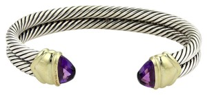 David Yurman Amethyst 925 Silver 14k Yellow Gold Double Band Cable Bracelet