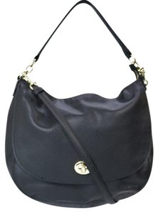 Coach Gold Hardware Turn Lock Top Handle Removable Strap Hobo Bag