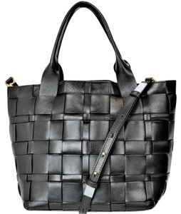 Michael Kors Leather Woven Tote in Black