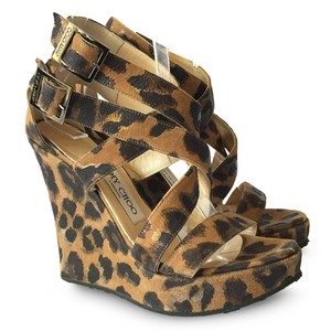 Jimmy Choo Leather Leopard Platform Strappy Brown Wedges