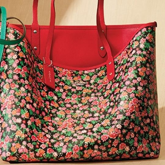 Coach New With Tags Tote in Pink Multi Bright Red Image 3