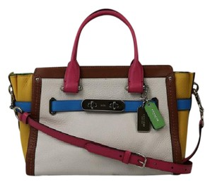Coach Leather Multi Swagger Satchel in Multi- Colored