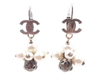 Chanel Chanel Rustic Gold CC Pearl Chunk Dangle Hoop Piercing Earrings