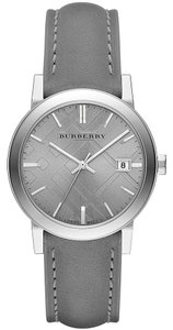 Burberry Burberry Swiss Gray Leather Strap Watch 38mm