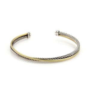 David Yurman 18k Yellow Gold Sterling Double Wire & Cable Cuff Band Bracelet
