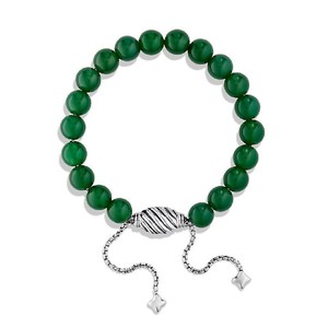 David Yurman Green Onyx & Sterling Silver Spiritual Bracelet, Adjustable Size