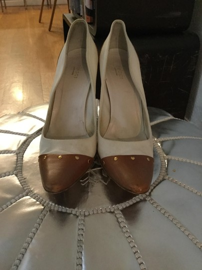 Gucci Studded Leather Canvas Western Gold Vanilla Pumps Image 1