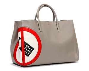 Anya Hindmarch Ebury Italian Leather Made In Italy Large Tote in light grey