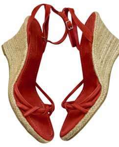 Banana Republic Suede Wedge Espadrille Coral Red Sandals