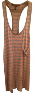 BCBGMAXAZRIA Festival Striped Racer-back Top Tan Grey