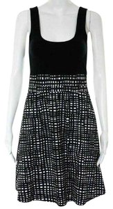 Theory short dress Black/White Brushstrokes Tank Stretchy Fit And Flare on Tradesy