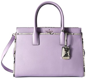 Kate Spade Cameron Street Candace Black Embossed Crosshatched Leather Satchel in Lilac Cream