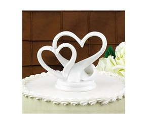 White Contemporary Glazed Porcelain Double Heart Design Top 4 By 5 Inch Cake Topper
