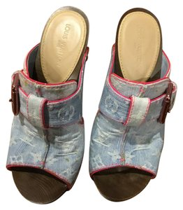 Louis Vuitton Washed Denim with Pink Leather Mules