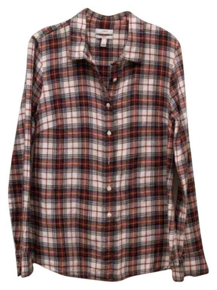 J Crew Red White Blue Classic Cotton Flannel Shirt Button