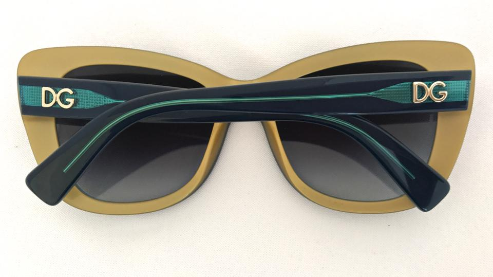 389bcccd1db3 Dolce Gabbana Blue Gold Cat Eye Butterfly Oversized Sunnies In Dark ...