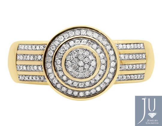 Jewelry Unlimited Men's Disc Round Pave Genuine Diamond Wedding Pinky Ring .33ct Image 4