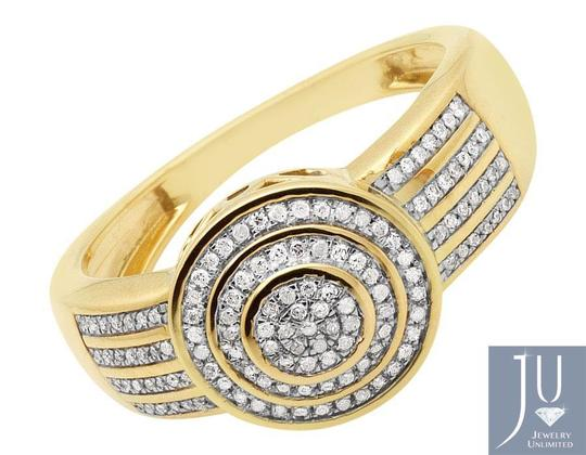 Jewelry Unlimited Men's Disc Round Pave Genuine Diamond Wedding Pinky Ring .33ct Image 5