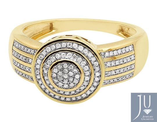 Jewelry Unlimited Men's Disc Round Pave Genuine Diamond Wedding Pinky Ring .33ct Image 6