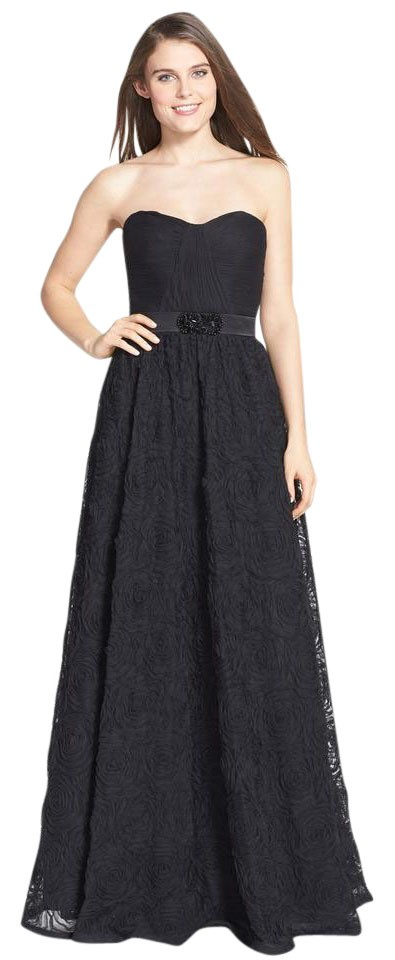 Adrianna Papell Black Pleat Bodice Rosette Ball Gown Long Formal ...