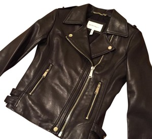 942a80776a57 BCBGeneration Black Long Faux Leather Asymmetrical Zip Moto Jacket ...