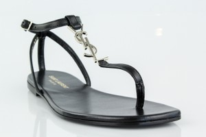 Saint Laurent Ysl Logo Flat Black Sandals
