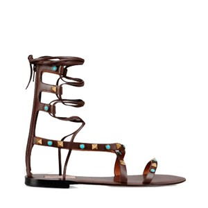 Valentino Ankle Strap Flat Gladiator Style Brown Sandals