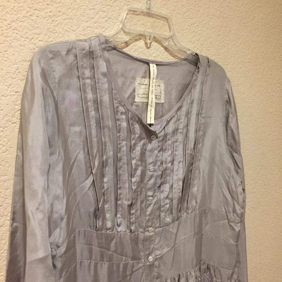 94e33fb07dac3f Preferred Johnny Was Silver Gray Silk Button-down Top Size 8 (M) -