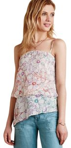 Anthropologie Tiered Floral Top Cream/ Muti