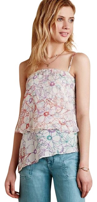 Preload https://img-static.tradesy.com/item/21360622/anthropologie-cream-muti-maeve-daisy-garden-floral-print-tiered-silk-m-blouse-size-8-m-0-1-650-650.jpg
