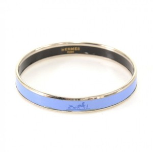Herms Hermes Blue x Silver Tone Enamel PM Bracelet Bangle HA815