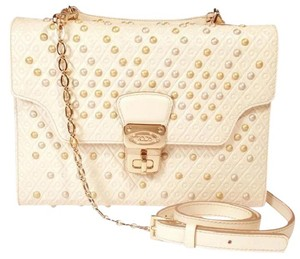 Tod's Pearl Stud Crossbody Gold Satchel in White