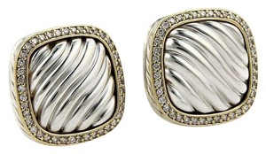 David Yurman Albion Diamond Sterling 18k Yellow Gold Cable Post Clip Earrings