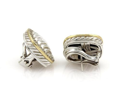 David Yurman Albion Diamond Sterling 18k Yellow Gold Cable Post Clip Earrings Image 2