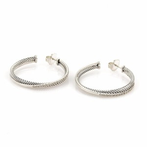 David Yurman Diamond Sterling Silver Double Row Fancy Hoop Earrings