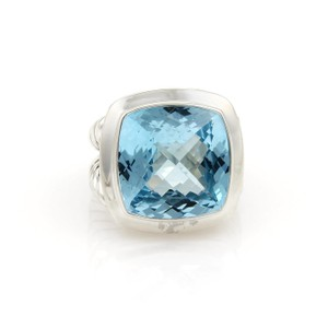 David Yurman ALBION Blue Topaz Sterling Silver Cable Solitaire Ring Size 7