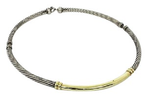 David Yurman 14k Yellow Gold & 925 Silver Cable Wire Choker Necklace