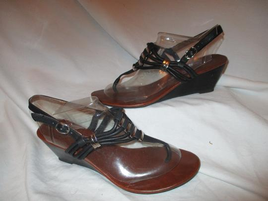Jeffrey Campbell Leather Wedge Thong black Sandals Image 1