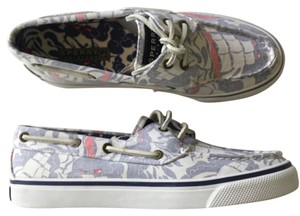 Sperry white blue Flats