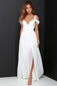 Lulu*s Ivory/white Bariano Ocean Of Elegance Ivory Maxi Dress Wedding Dress