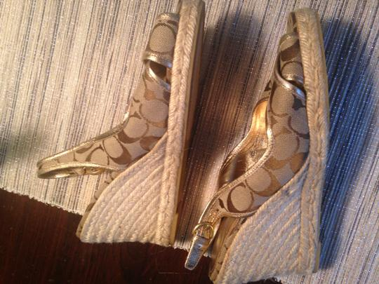 Other Wedge Heels Tan and Gold Monogram Sandals