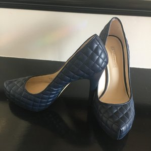 BCBGeneration Quilted Vegan Faux Leather Navy Blue Pumps